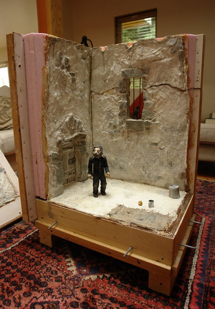 sets for animated stop motion films | The door I made out of rough cedar and the hings out of hammered out ...