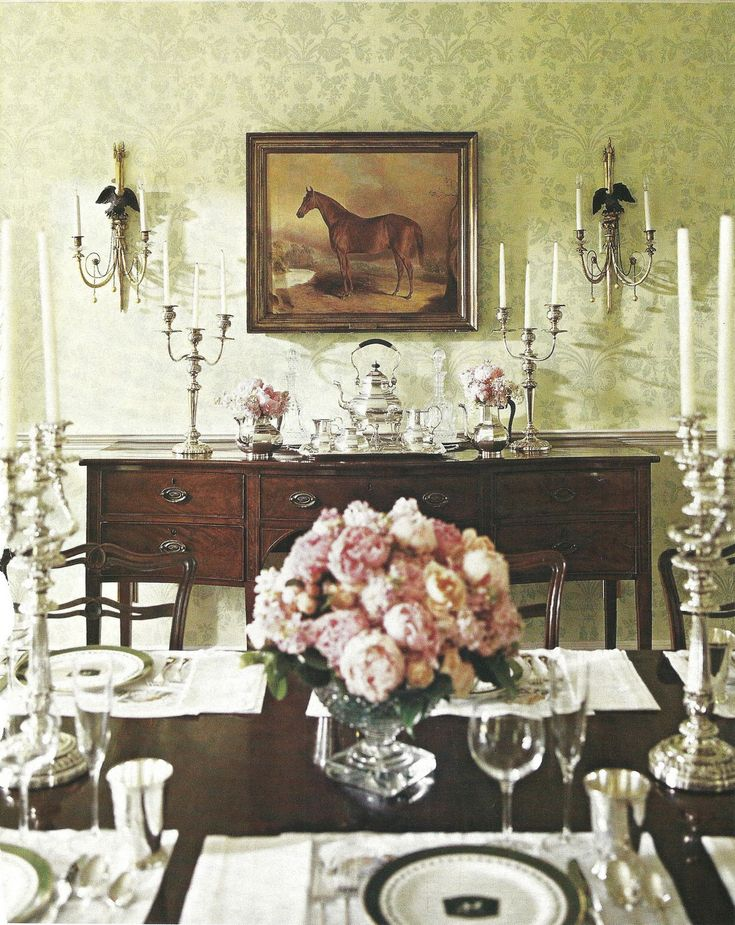 equestrian/ shabby dining room. A little too formal but great inspiration