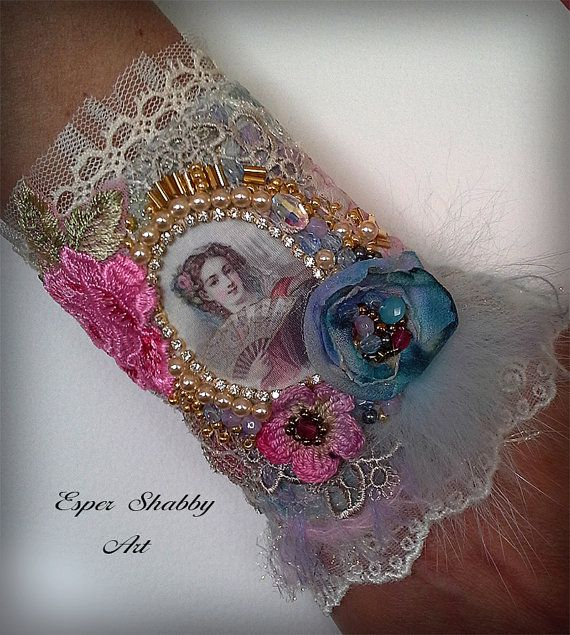Jewelry bracelet, romantic shabby chic wrist cuff -antique laces, hand beaded…