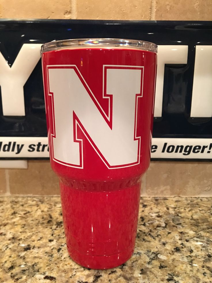YETI Rambler Tumbler or Bottle in Custom Red with Nebraska Cornhuskers Logo - Powder Coated by JessBoysColors on Etsy https://www.etsy.com/listing/462636669/yeti-rambler-tumbler-or-bottle-in-custom