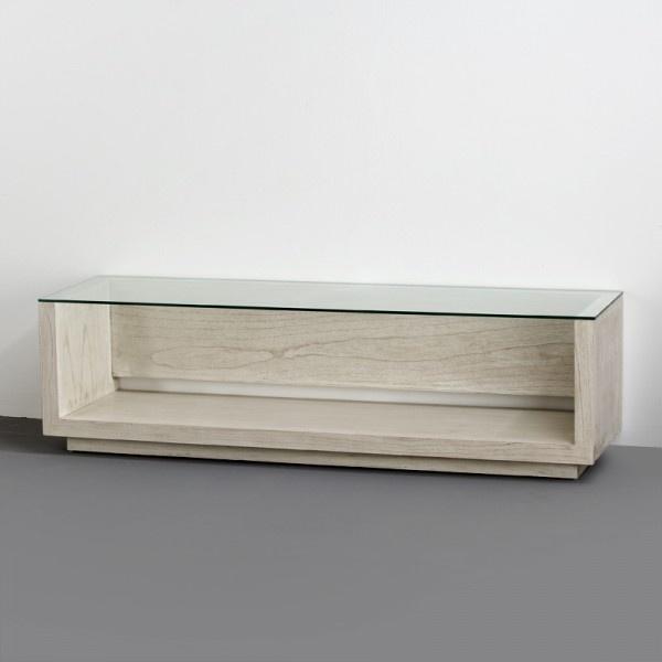 Mueble TV Madera blanco velado y cristal 160x45x45