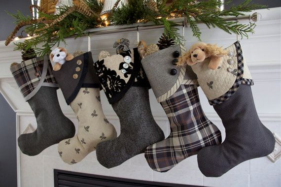 Christmas Stockings in Taupe, Grey & Black