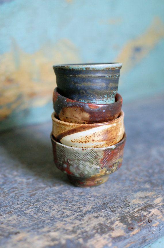 four sake ochoko by ralphnuara on Etsy, $36.00