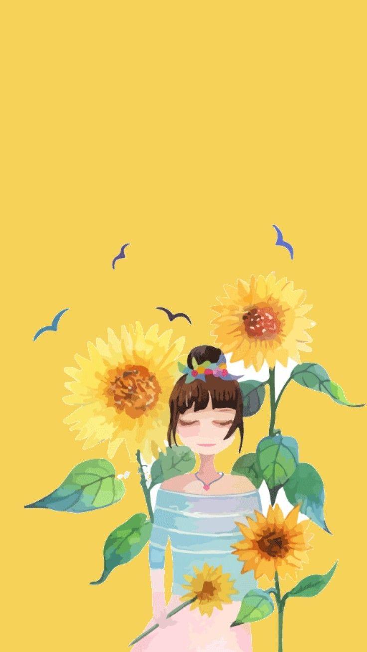 Wallpaper Lockscreen Background Yellow Iphone Girl Flowers