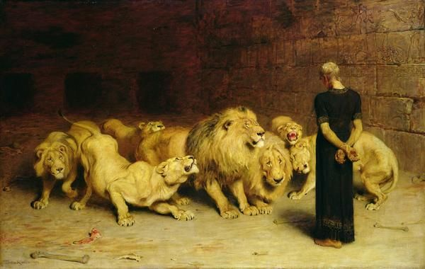 Daniel in the lions den. Cannot wait to get this story tattooed on me. the book of Daniel is so good. sooo good.