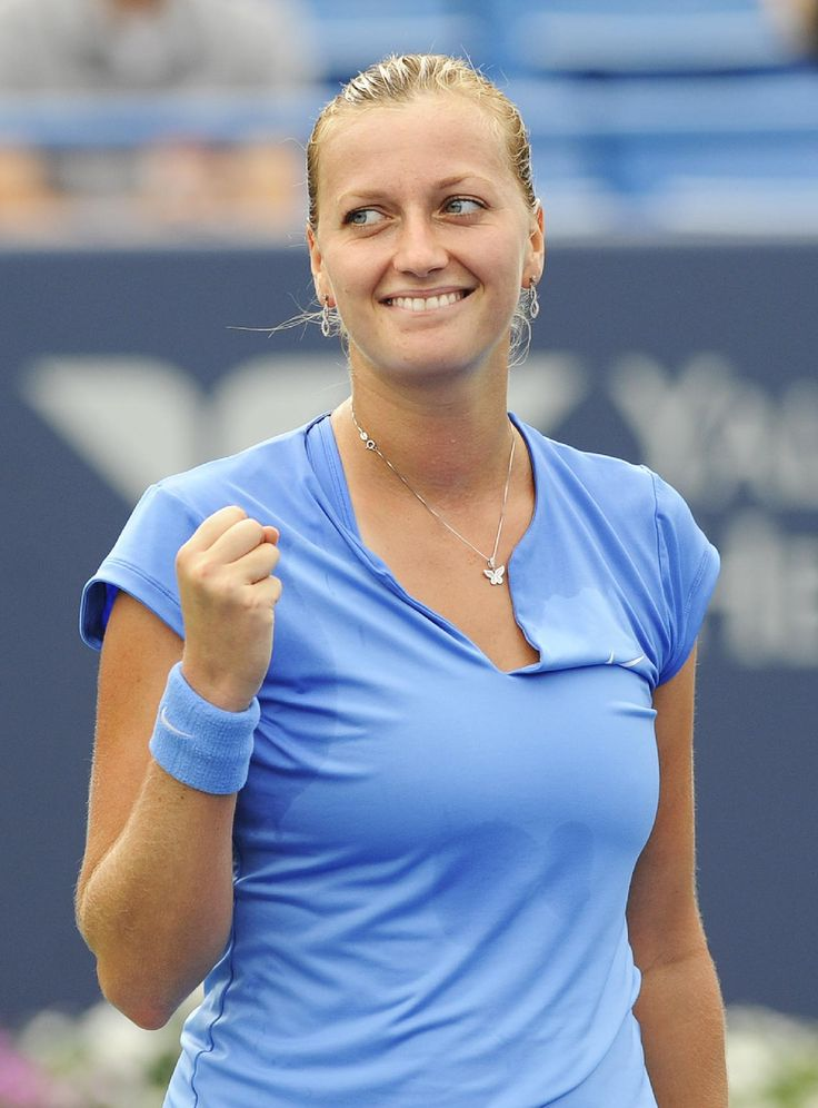 Petra Kvitova, of the Czech Republic celebrates after defeating Klara Zakopalova, alsoo from the Czech Republic, 6-0, 6-1 during their semifinal match at the New Haven Open tennis tournament in New Haven, Conn., on Friday, Aug. 23, 2013. #WTA #Kvitova #nh13