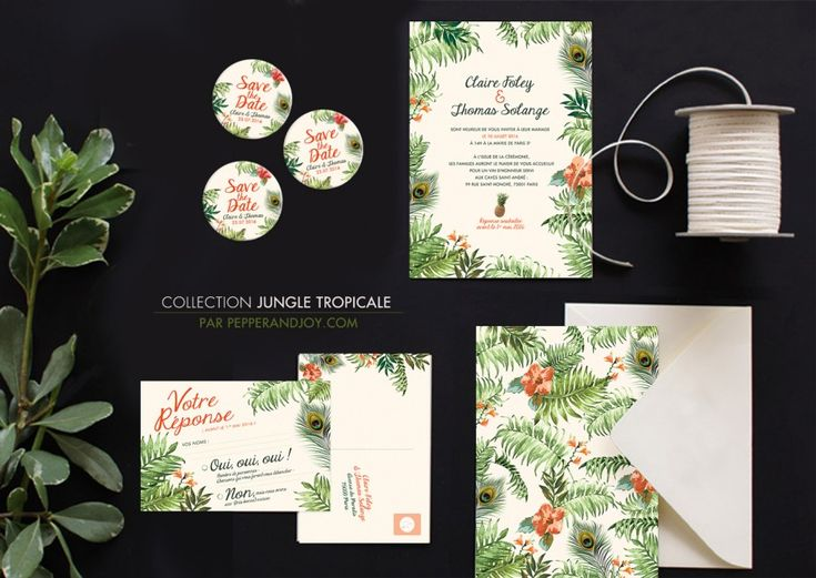 Jungle_tropicale_invitation_mariage_pepper-and-joy I Mariage ambiance Tropicale I MG Events Ile de Ré