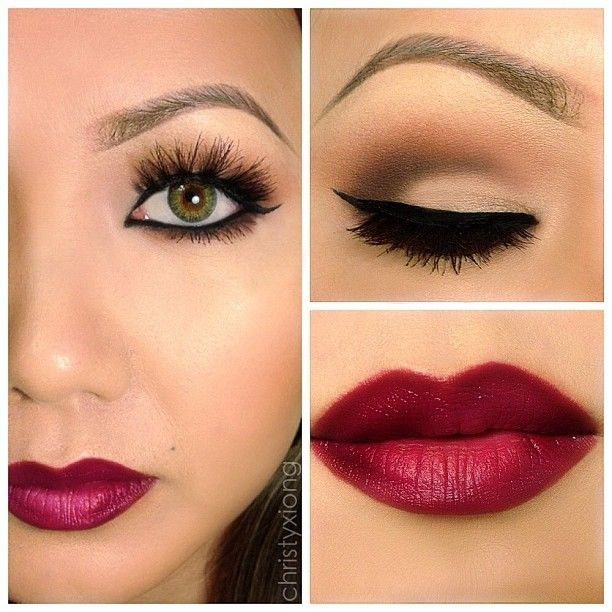 Brown Soft Smokey Look with Cranberry Lips