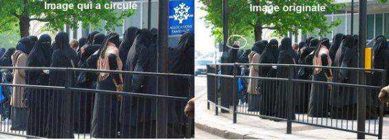 Femme voilées devant la CAF : Attention, photo truquée ! | Oumma.com