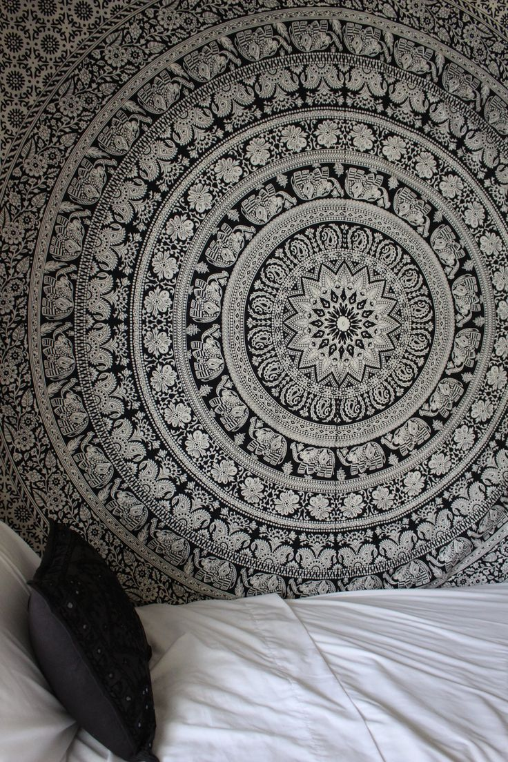 Black and white bed sheets tumblr - Black And White Gypsy Wildflower Mandala Tapestry