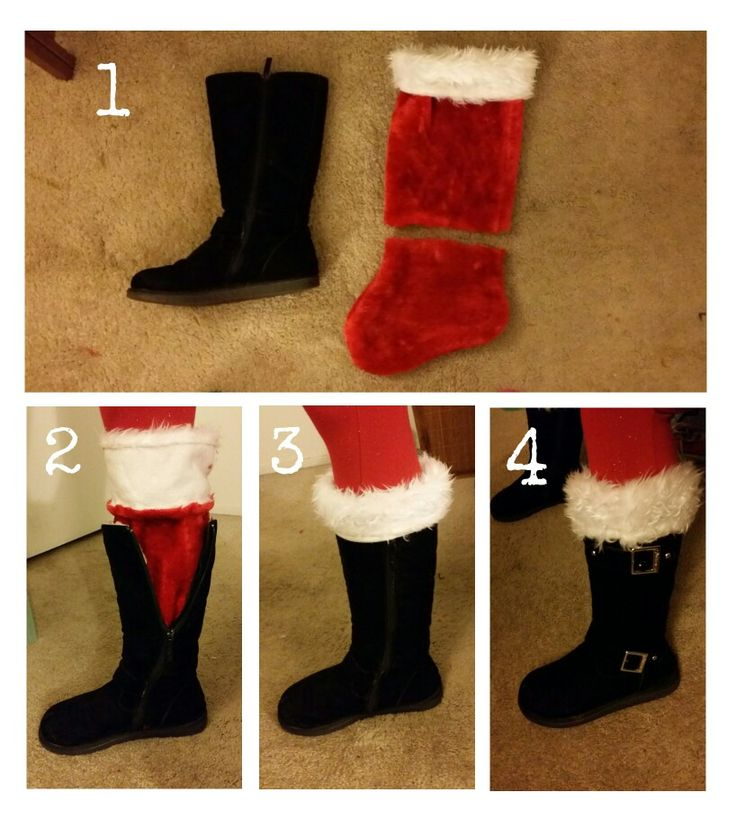 Hey ladies! Here's a fun christmas outfit tip. Want to make your boots look like Santa's, but you don't want to spend the crazy amounts they want for santa boot cuffs? Here's what I did tonight. I found some christmas stockings on clearance at Walgreens:  1. Cut the toe off of each one. Leaving a few inches of the red fabric can help keep your ankles warmer inside the boot.  2. Put your socks on like normal. (My boots are a size too big so that I can double or triple my socks if need be.)…