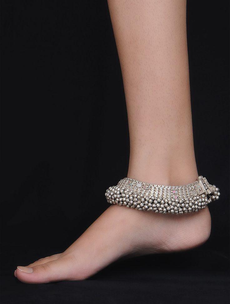 Buy Silver Bold Ghungroo Anklet Set of 2 Online at Jaypore.com