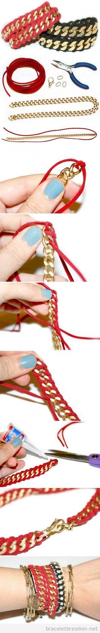 Tuto, bracelet DIY pas a pas fabriqué avec chaines et fil queue de rat