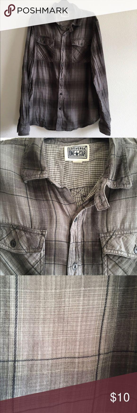 Men's Converse Plaid Button up Men's Converse Grey/Black Lightweight Plaid Button up. Size Large. Converse Shirts Casual Button Down Shirts