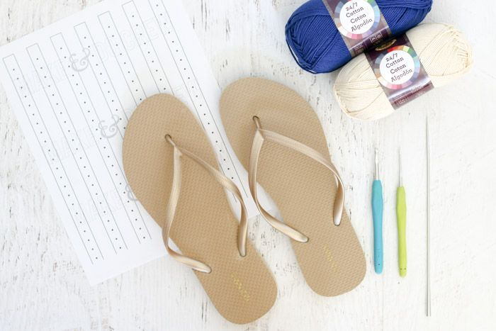 How to crochet shoes with rubber soles using Lion Brand 24/7 Cotton yarn (in Navy and Ecru) and a cheap pair of flip flops! Free pattern from Make and Do Crew.