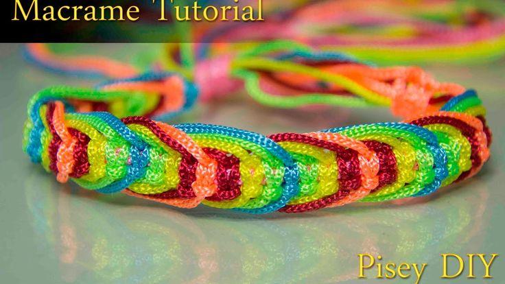 How to make macrame   Rainbow Fishbone Bracelet  tutorial , Friendship D...