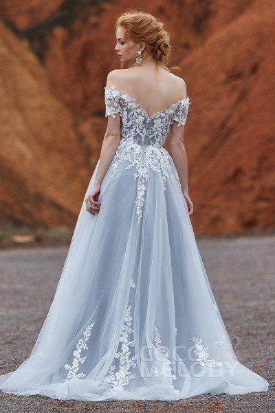 [ USD$ 399 ] Fancy Off The Shoulder Tulle Zipper Gothic Wedding Dress LD5830
