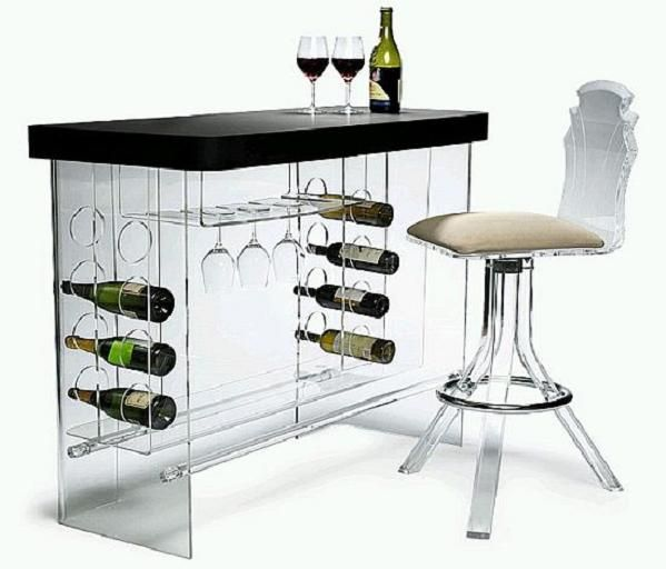The Wine Bottles Look Like They Are Floating! Awesome Acrylic Bar! #winebar  #