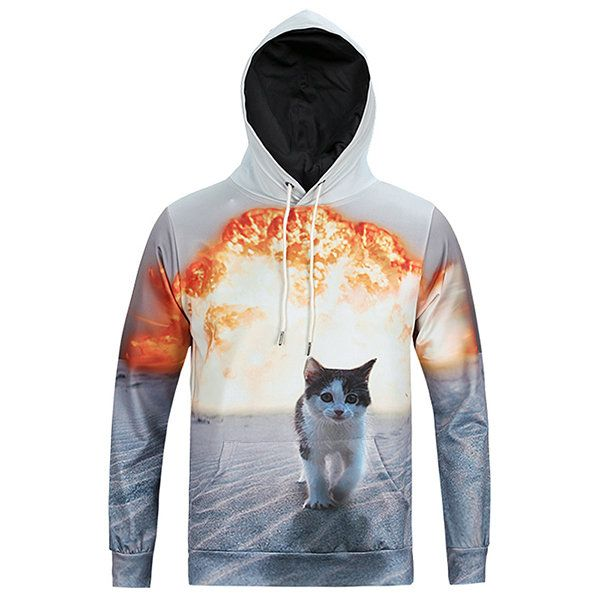 Mens Hoodies Original 3D Explosion Cat Printing Fashion Casual Sport Hooded Tops