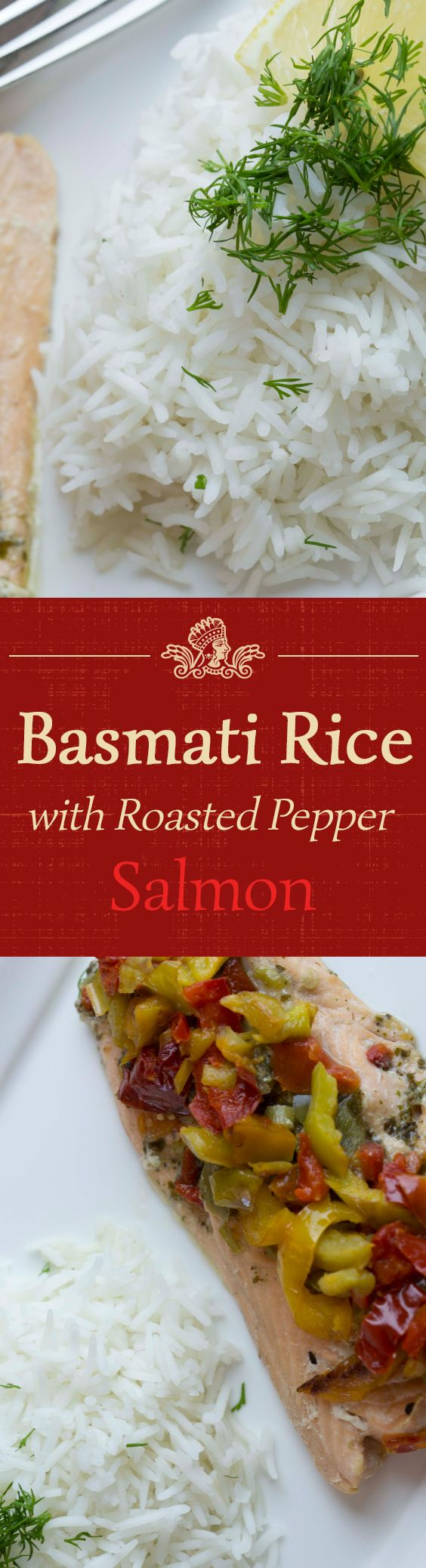 Salmon with roasted peppers is the perfect match for Royal Basmati Rice.