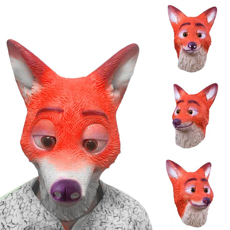 Cute Fox Latex Masks Animal Head Mask for Halloween Masquerade Party Cosplay Costume Dress Mask Better Gift