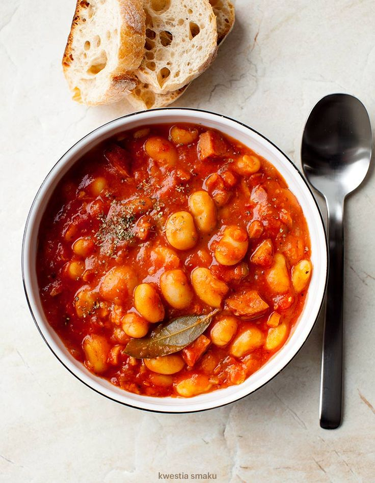 "Polish dish ""Fasolka po bretońsku"" - Beans & Sausage Cooked in Tomatos"