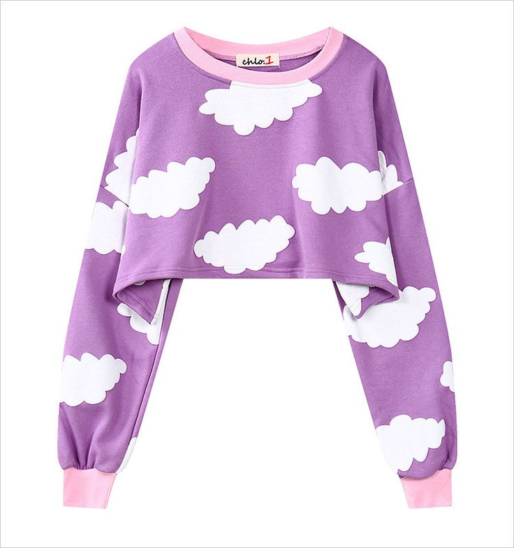 This cropped purple sweater showcases the most relaxed spirit and kawaii style in flattering cropped length. Pair it with any jeans. Looks good on all body types! Body length: 36cm; Sleeve length: 49c
