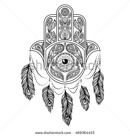 Hand drawn hamsa, peacock feather,  vector