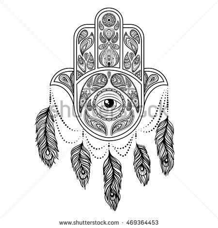 Hand drawn hamsa, peacock feather,  vector
