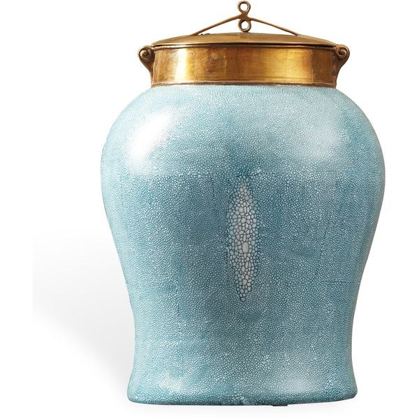 Turquoise Faux Shagreen Asian Porcelain Bronze Lidded Tea Jar - Large ($518) ❤ liked on Polyvore featuring home, kitchen & dining, food storage containers, decor, fillers and furniture