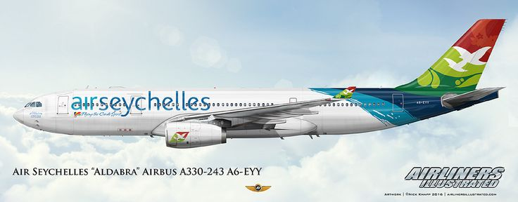 https://flic.kr/p/Dop3Hw | Air Seychelles Aldabra Airbus A330-243 A6-EYY | Airliners Illustrated® by Nick Knapp©. www.AirlinersIllustrated.com