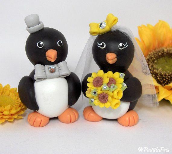 Penguin wedding cake topper custom love birds with by PerlillaPets