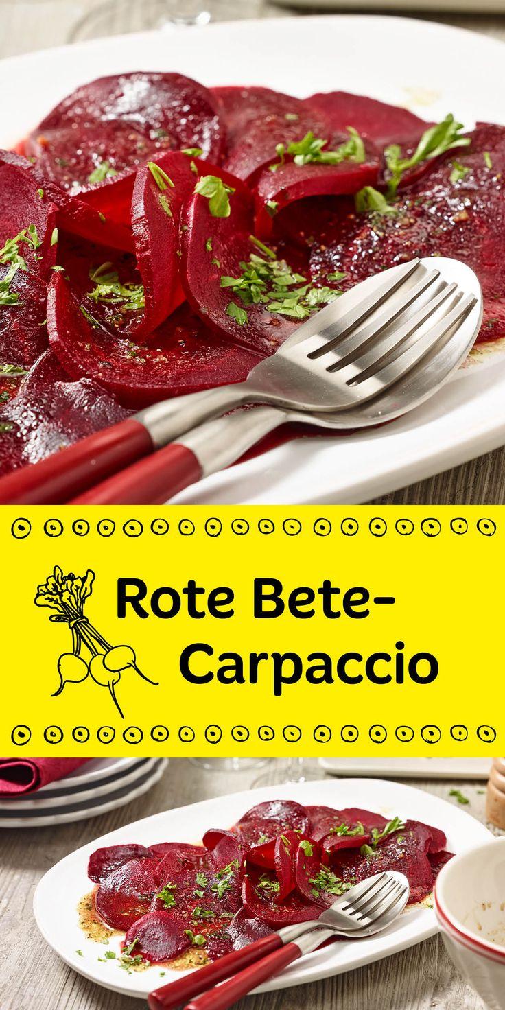 Wir haben für dich ein tolles Low Carb Gericht: Rote Bete Carpaccio mit frischer Petersilie. Das sieht nicht nur toll aus, sondern schmeckt auch richtig gut!