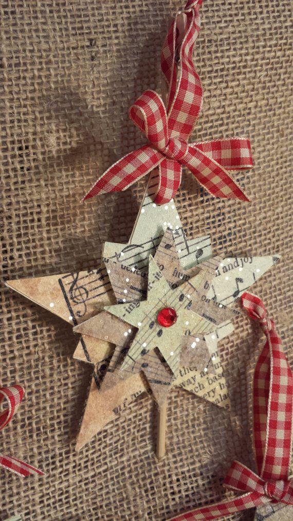 Sheet Music Christmas Star Ornament with por JenniferGinvitations