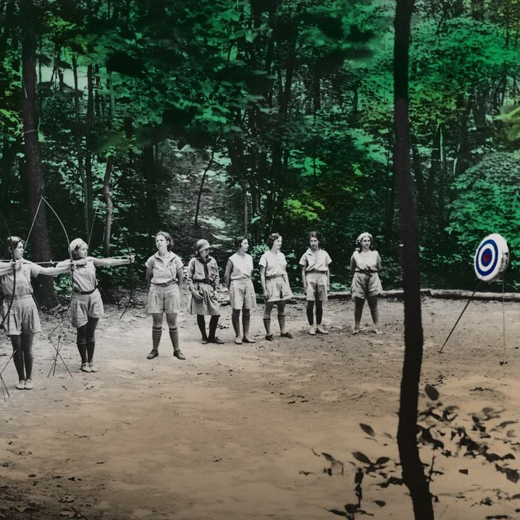 Girl Scouts practice archery at a camp in Brooklyn, New York, 1930. #ThrowbackThursday