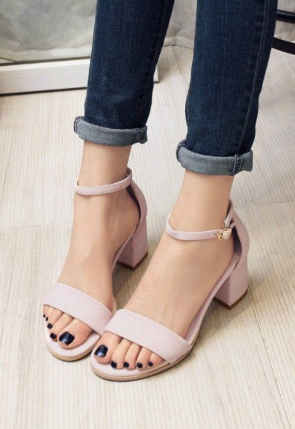 Pastel Pairs - Plain Block Heel Sandals