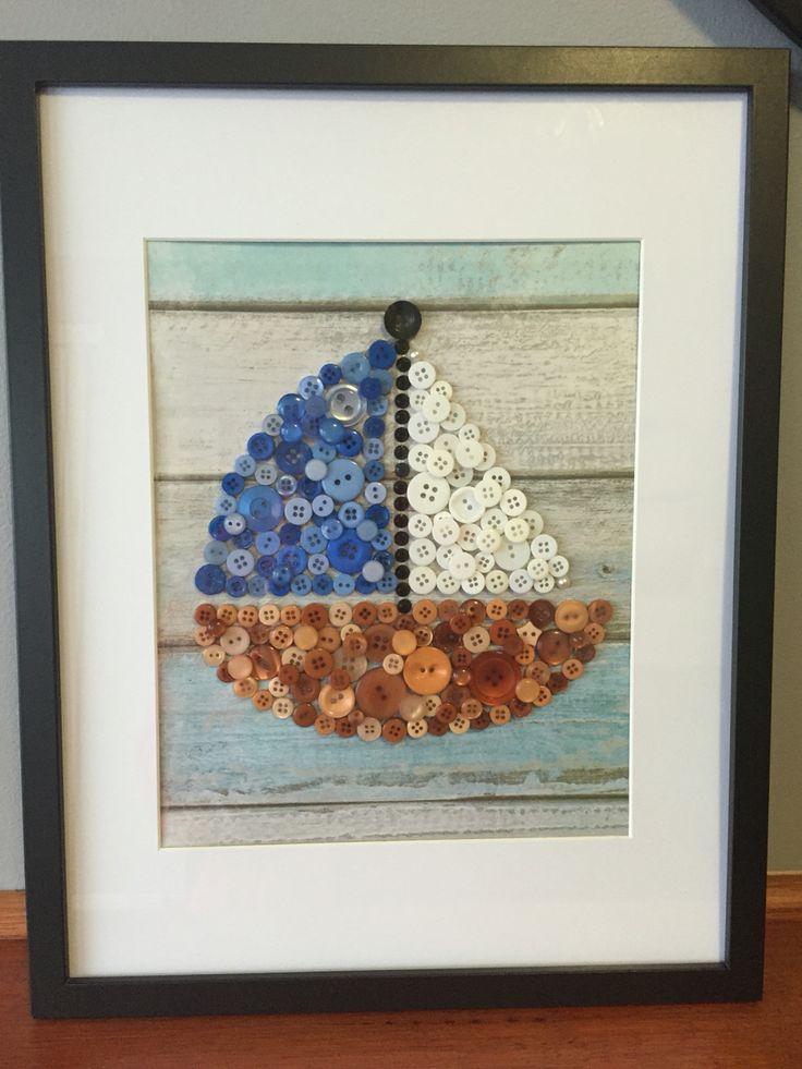 Button Art Sail Boat