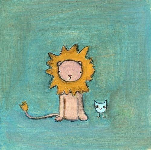 lion and bird print