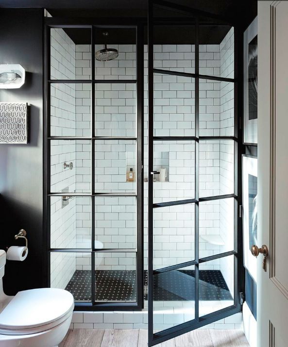 SHOWER black steel framed doors Designer: Jenny Wolf Photographer: Emily Gilbert Trad Home Spring 2014