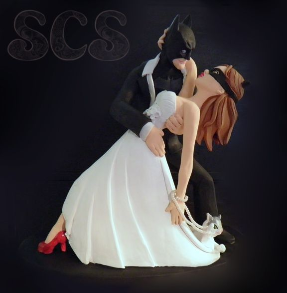 Not that I every plan on getting married but still! BATMAN!!! custom-wedding-cake-topper-batman-catwoman-