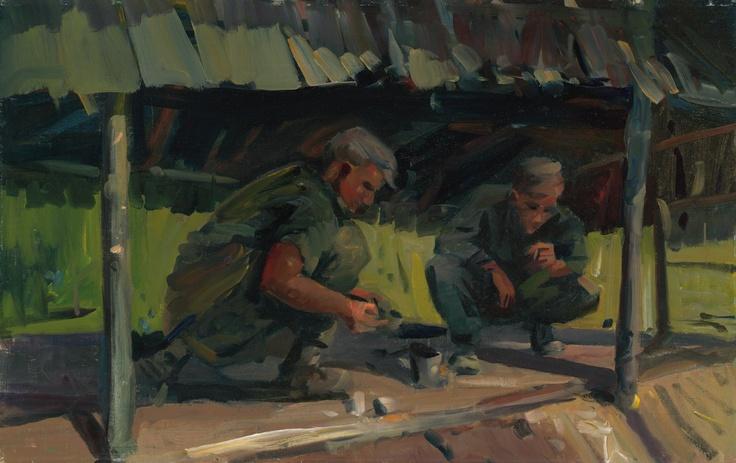 McFadyen, Ken 'Brew up' 1967, oil on canvas on hardboard, 30.3 x 48.3 cm.  #kenmcfayden #vietnamoncanvas #sandrafingerlee #vietnamwar #warart