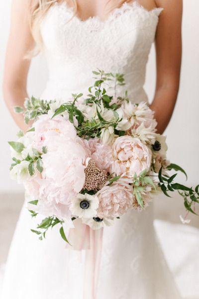 Whisper pink peonies and anemone: http://www.stylemepretty.com/2015/04/14/20-pastel-bouquets-for-the-bride/