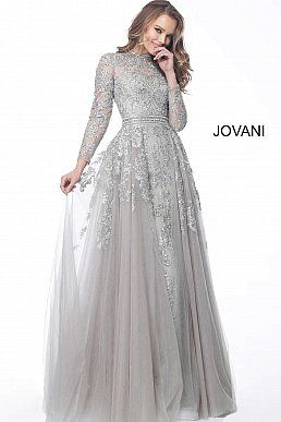 1157f2b47dc jovani Silver High Neck Long Sleeve Embroidered Evening Dress 62777 ...