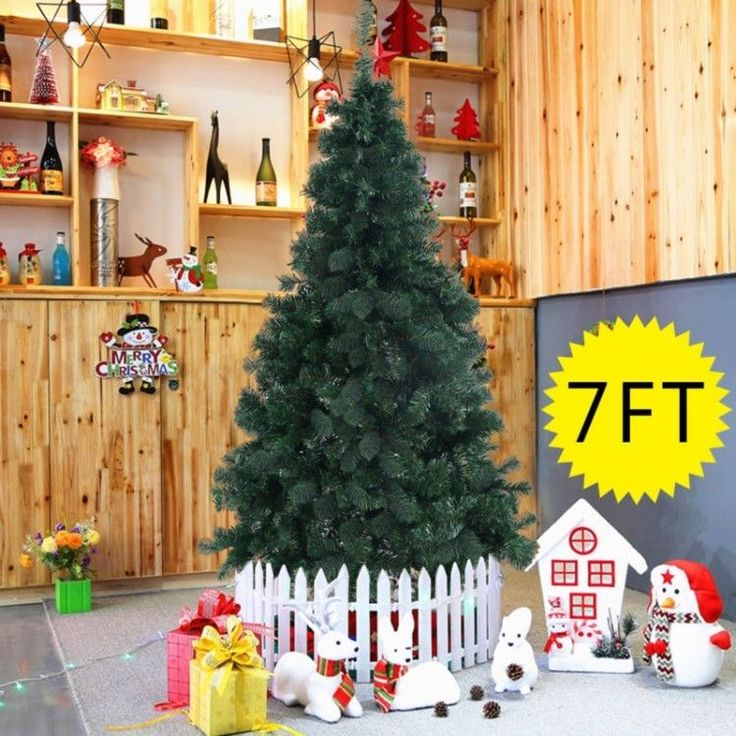 Holiday Artificial Christmas Tree Home Xmass Decoration Winter Green 7 FT 210 cm #HolidayArtificialChristmasTree