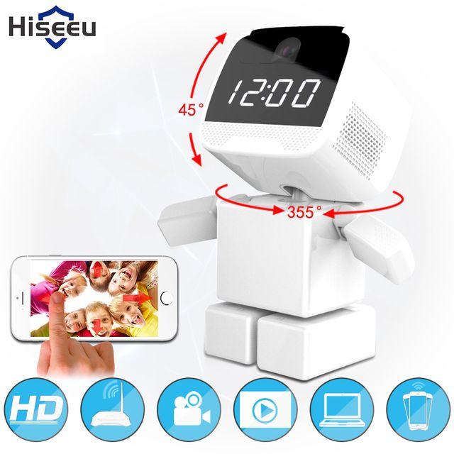 Mais recente 960 P HD Robô Câmera IP Sem Fio Wi-fi Rede Night Vision WIFI Relógio Da Câmera 1.3MP Security Monitor CCTV Remoto Hiseeu