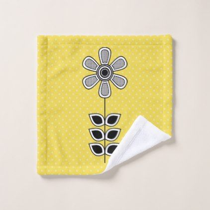 Black White Mid Century Modern Flower 5 Wash Cloth - black gifts unique cool diy customize personalize