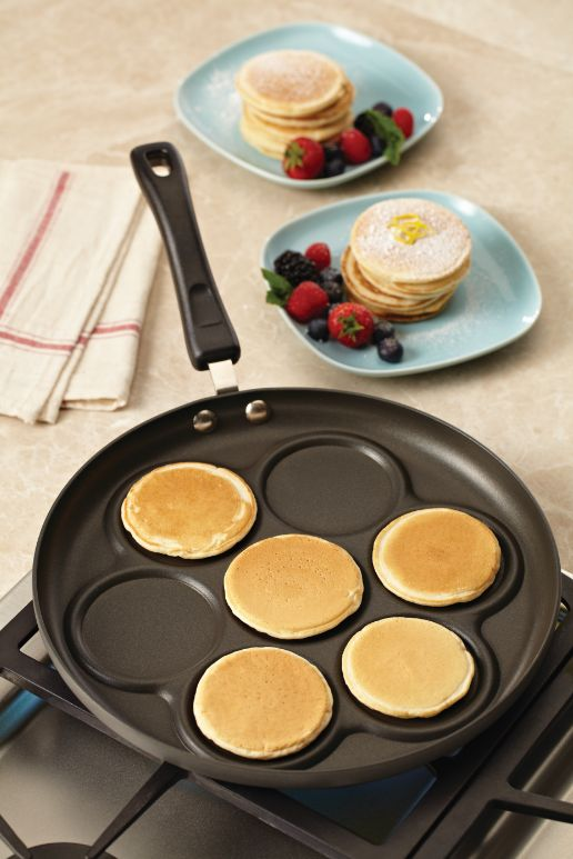 Making professional-looking pancakes exactly the right size is a treat with the ingenious Anolon Classic Hard-Anodized Nonstick 12-Inch Silver Dollar Pancake Pan. Click on the image to learn more. #pancakes