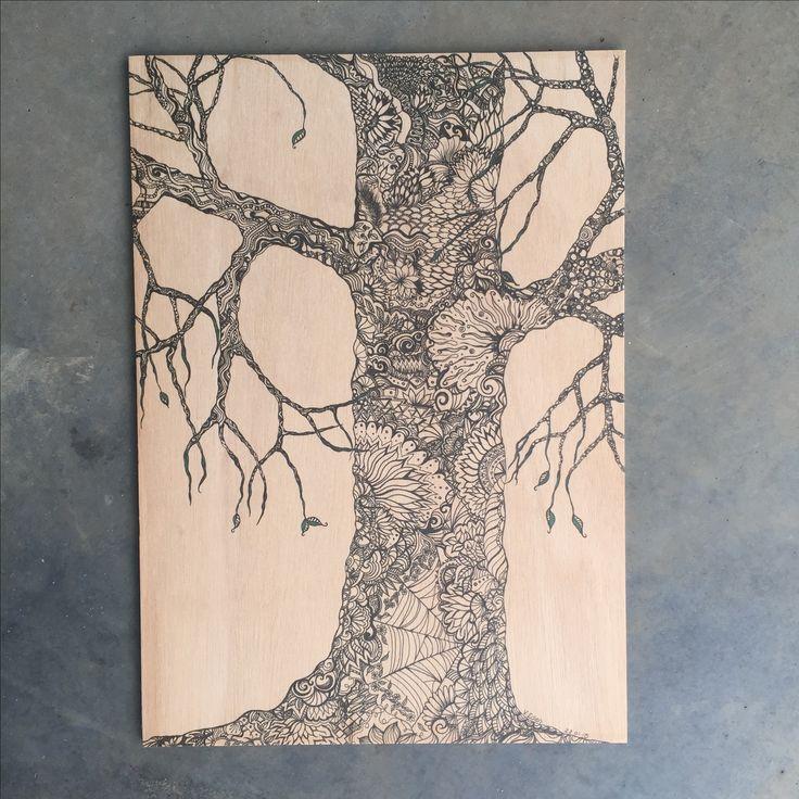 Tree drawing printed on plywood