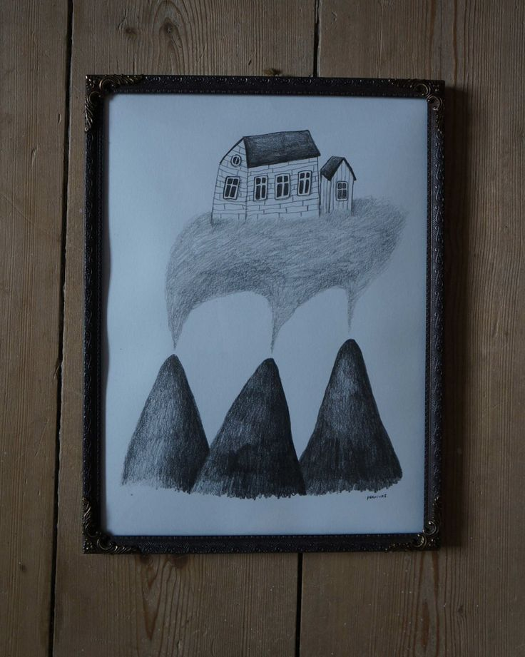 flying houses. drawing by pernilleE