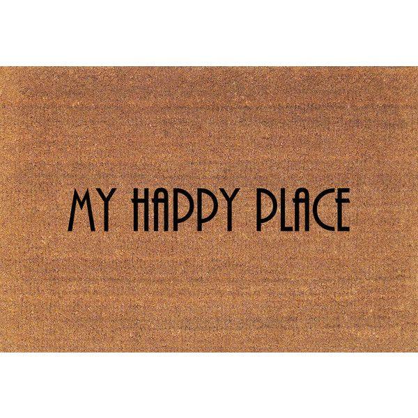 My Happy Place Door Mat Coir Doormat Rug 2 X 2 11 (24 Inches X 35... ($38) ❤ liked on Polyvore featuring home, rugs, brown, floor & rugs, home & living, coconut fiber door mats, brown rug, coco fiber door mats, coconut fiber mat and brown door mat